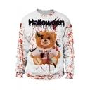 Fashion Halloween Blood Teddy Bear Printed Crewneck Long Sleeve White Sweatshirt
