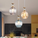 Amber/Blue/Gray Glass Shade Restaurant Pendant Lamp Modern Style Mini Hanging Light in Gold Finish