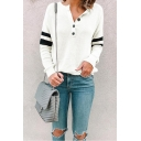 Stylish Button V-Neck Striped Long Sleeve Loose Fit T-Shirt