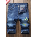 Men's Summer Fashion Medium Washed Phoenix Embroidery Pattern Zip-fly Denim Shorts