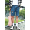 Stylish Simple Plain Hardware Ring Embellishment Shredded Blue Casual Denim Shorts for Men
