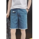 Summer Fashion Simple Plain Mini Pocket Embellishment Frayed Hem Straight Fit Denim Shorts for Men