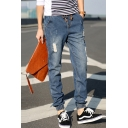 Simple Fashion Drawstring Waist Elastic Cuffs Blue Casual Ripped Jeans for Men