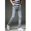 Men's Trendy Basic Plain Zip-fly Regular Fit Gray Casual Jeans