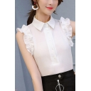 Basic Simple Plain Ruffled Hem Button Front Fitted Chiffon Top