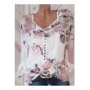 Chic Floral Printed Button V-Neck Loose Leisure Chiffon Blouse Shirt