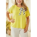 Womens Plus Size Summer Popular Yellow Bow-Tied Round Neck Short Sleeve T-Shirt