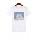 Summer Simple Fashion Wave Printed Round Neck Short Sleeve White Tee