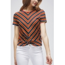 Womens Stylish Striped Printed Round Neck Short Sleeve Slim Fitted T-Shirt