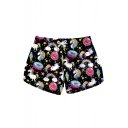 Funny Black Cartoon Rainbow Unicorn Printed Drawstring Waist Swimwear Beach Shorts for Women