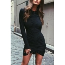 Womens Hot Popular Plain Long Sleeve Ruched Drawstring Front Black Mini Bodycon Dress