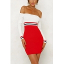 Womens Chic Simple Stripe Two-Tone Patched Off the Shoulder Long Sleeve Red Mini Bodycon Dress