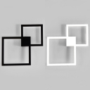 Double Square Wall Sconce Light Simple Style Metal Frame LED Wall Light in Black/White
