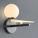 Single Light Sphere Shade Wall Lamp Post Modern White Glass Sconce Lighting for Bedside Bathroom