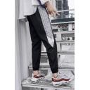 Men's Summer Trendy Stripe Tape Side Elastic Cuffs Black Casual Track Pants