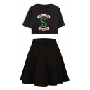 Popular Snake Logo Printed Short Sleeve Cropped Tee with A-Line Skirt Two-Piece Set