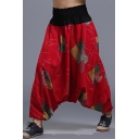 National Style Unique Printed Loose Fit Elastic Waist Baggy Drop-Crotch Harem Pants