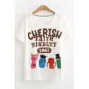 Popular Funny Cartoon Letter CHERISH Print Round Neck Short Sleeve White Tee
