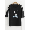 Funny Cute Cartoon Cat Printed Lace-Up Short Sleeve Loose Fit T-Shirt
