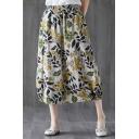 Womens Trendy Floral Leaf Pattern Elastic Waist Midi Lantern Skirt