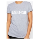 Street Letter ADULT-ISH Print Round Neck Short Sleeve Grey T-Shirt