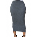 Women's Summer Simple Plain Elasticated-Waist Bodycon&Sheath Midi Skirt