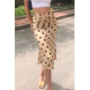 Womens Chic Polka Dot Printed Ruched Waist Midi Graceful Fitted Skirt