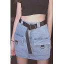 Summer Cool Girls Buckled Belted Waist Flap POcket Front Blue Mini Bodycon Denim Skirt
