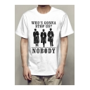 Cool Figure Letter WHO'S GONNA STOP US NOBODY Print Short Sleeve White Tee