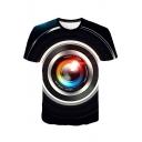Fashion Camera Shot 3D Printing Round Neck Short Sleeve T-Shirt