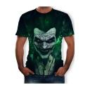 Popular Joker Clown Figure 3D Print Green Short Sleeve Fitted T-Shirt