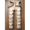 Men's Classic Snow Washed Regular Fit Khaki Ripped Jeans