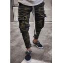 Men's Trendy Cool Camouflage Printed Flap Pocket Side Webbing Army Green Skinny Jeans