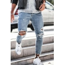 Men's Popular Fashion Plain Washed Knee Cut Slim Fit Frayed Ripped Light Blue Jeans