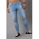 Men's Simple Fashion Solid Color Casual Skinny Ripped Jeans