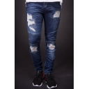 Men's New Stylish Knee Pleated Dark Blue Slim Fit Frayed Ripped Jeans