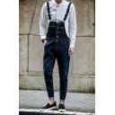 Men's Fashion Vintage Washed Front Mini Pocket Patched Dark Blue Slim Fitted Denim Bib Overalls