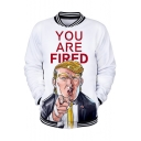 Funny Cool Figure Trump YOU ARE FIRED Print Rib Stand Up Collar Button White Baseball Jacket