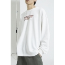 Utopian Socialism Cool Simple Letter Print Basic Round Neck Long Sleeve Loose Oversized Sweatshirt
