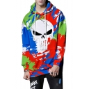 Halloween Colorful Skull Graffiti Print Long Sleeve Casual Loose Pullover Hoodie