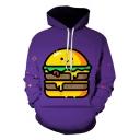 Funny Cute Cartoon Hamburger 3D Print Purple Unisex Sport Loose Hoodie