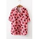 Sweet Girls Pink Strawberry Pattern Lapel Collar Short Sleeve Button Shirt