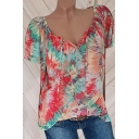 Womens Fancy Colorful Painting Tied V-Neck Short Sleeve Relaxed Fit Blouse Top