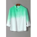 Mens Trendy Ombre Color Stand Collar Long Sleeve Linen Fitted Button Shirt