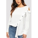 Womens Designer Unique Cold Shoulder Long Sleeve Oblique Button Front White Shirt Blouse