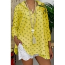 Hot Popular Allover Star Pattern Long Sleeve Button Front Casual Shirt for Women