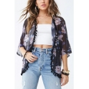 Womens Summer Fancy Floral Printed Tassel Hem Sun Protection Kimono Blouse