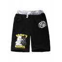 Men's Popular Fashion Letter Cartoon Bear Badge Printed Drawstring Waist Cotton Sweat Shorts