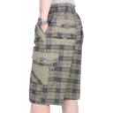 Men's Summer New Fashion Plaid Pattern Multi-pocket Design Casual Loose Cargo Shorts