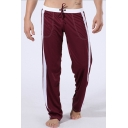Men's Simple Fashion Colorblocked Stripe Side Drawstring Waist Casual Yoga Pants Loose Sweatpants